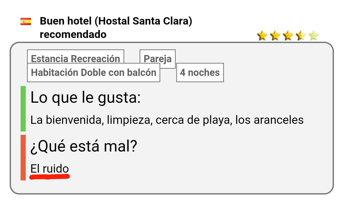 Hostal santa clara estartit opinion
