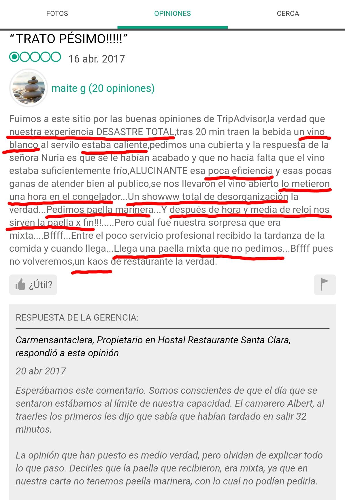 Tripadvisor Santa Clara Estartit Restaurante Desastre Desorganizado opinion