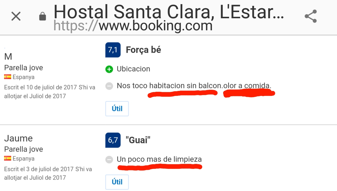 Santa Clara Hostal Estartit Booking Opinion Limpieza Olor