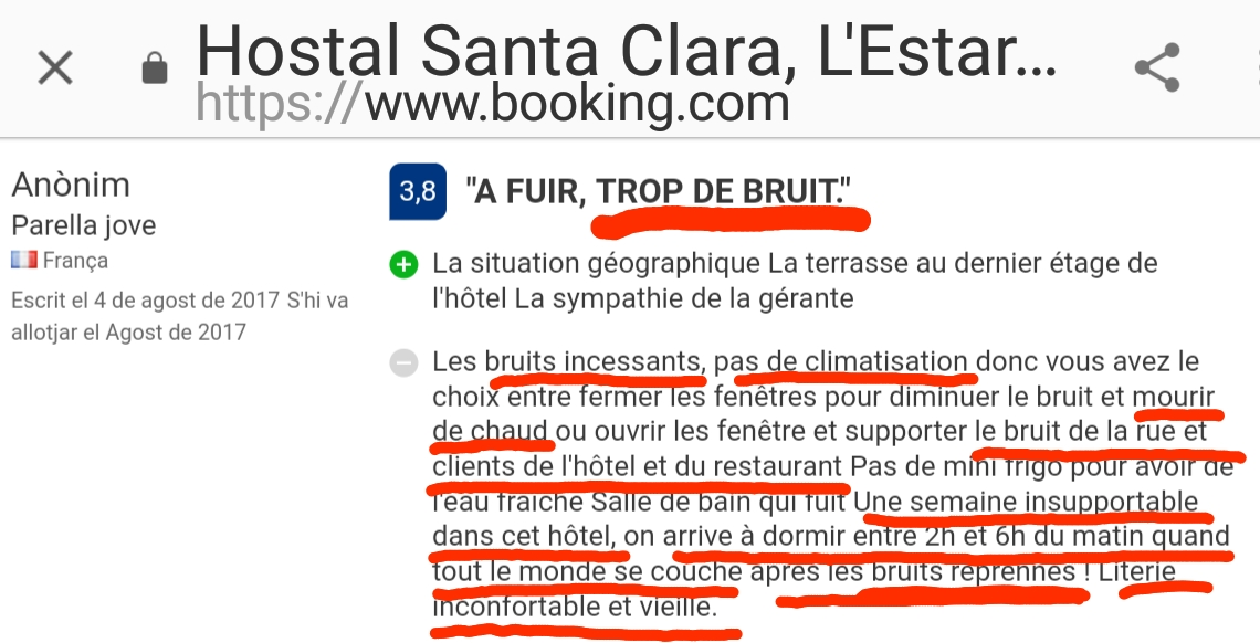 Hostal Santa Clara L'Estartit Bruit Opinion
