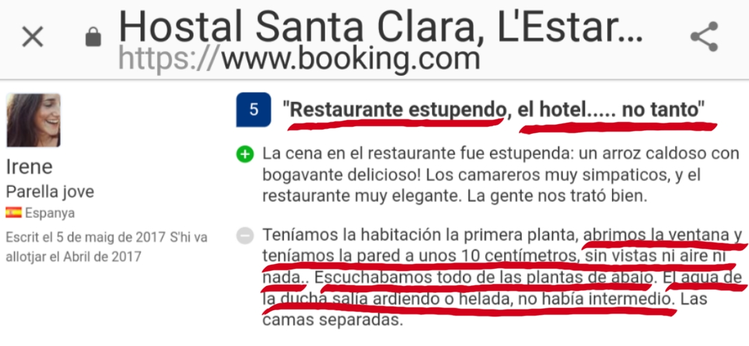 Hostal Santa Clara Estartit opiniones booking